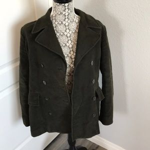 Army green coat suede